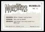 1964 Leaf Munsters #71   I Think I'll Go for Ride Back Thumbnail
