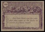 1973 Topps You'll Die Laughing #105   Tell me one more bedtime story Back Thumbnail