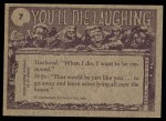 1973 Topps You'll Die Laughing #7   I warn you Frankie Back Thumbnail