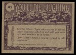 1973 Topps You'll Die Laughing #45   Ring around the collar! Back Thumbnail