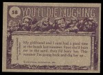 1973 Topps You'll Die Laughing #58   Last one in the water Back Thumbnail