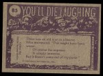 1973 Topps You'll Die Laughing #85   C'mon Irving just one more Back Thumbnail
