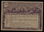 1973 Topps You'll Die Laughing #117   How long does it take Back Thumbnail