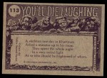 1973 Topps You'll Die Laughing #113   I've had it with those lessons Back Thumbnail
