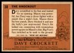 1956 Topps Davy Crockett Orange Back #38   The Knockout  Back Thumbnail