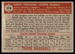 1952 Topps #274  Ralph Branca  Back Thumbnail
