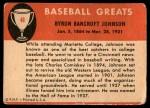 1961 Fleer #48  Ban Johnson  Back Thumbnail