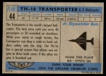 1957 Topps Planes #44 BLU  Yh-16 Transporter Back Thumbnail