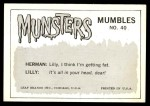 1964 Leaf Munsters #40   Somehow Food in Cafeteria Back Thumbnail