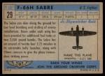 1957 Topps Planes #29 BLU  F-86H Sabre Back Thumbnail
