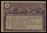 1973 Topps You'll Die Laughing #17   Watch out for that mole Back Thumbnail