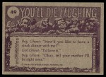 1973 Topps You'll Die Laughing #49   Will someone turn thermostat down? Back Thumbnail