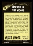 1964 Topps / Bubbles Inc Outer Limits #13   Horror in the Woods Back Thumbnail