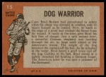 1965 Topps Battle #15   Dog Warrior  Back Thumbnail