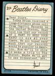 1964 Topps Beatles Diary #31 A Paul McCartney  Back Thumbnail