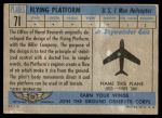 1957 Topps Planes #71 BLU  Flying Platform Back Thumbnail