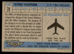 1957 Topps Planes #71 BLU  Flying Platform Back Thumbnail