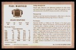 1970 Kellogg's #21  Paul Warfield  Back Thumbnail