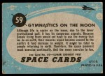 1957 Topps Space #59   Gymnastics on Moon  Back Thumbnail