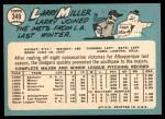 1965 Topps #349  Larry Miller  Back Thumbnail