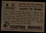 1953 Topps Fighting Marines #72   Against The Indians  Back Thumbnail