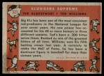 1958 Topps #321   -  Ted Williams / Ted Kluszewski Sluggers Supreme   Back Thumbnail