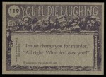 1973 Topps You'll Die Laughing #119   Who put pepper on my eggs? Back Thumbnail