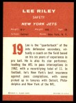 1963 Fleer #19  Lee Riley  Back Thumbnail