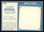 1961 Topps #170  Volney Peters  Back Thumbnail