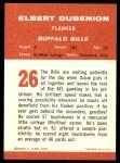 1963 Fleer #26  Elbert Dubenion  Back Thumbnail