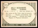 1961 Nu-Card #111  Billy Neighbors  Back Thumbnail