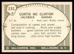 1961 Nu-Card #131  Curtis McClinton  Back Thumbnail