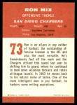 1963 Fleer #73  Ron Mix  Back Thumbnail