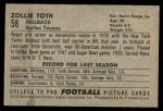 1952 Bowman Small #58  Zollie Toth  Back Thumbnail