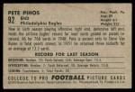 1952 Bowman Small #92  Pete Pihos  Back Thumbnail