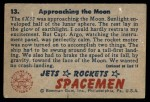 1951 Bowman Jets Rockets and Spacemen #13   Approaching the Moon Back Thumbnail