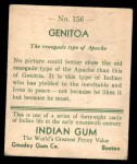 1933 Goudey Indian Gum #156  Genitoa   Back Thumbnail