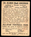 1948 Leaf #25 BNOF Bud Angsman  Back Thumbnail
