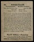 1939 Play Ball #86  Dolph Camilli  Back Thumbnail