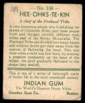 1933 Goudey Indian Gum #158  Hee-Ohks-Te-Kin   Back Thumbnail