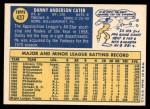 1970 Topps #437  Danny Cater  Back Thumbnail