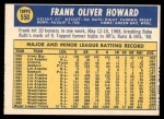 1970 Topps #550  Frank Howard  Back Thumbnail