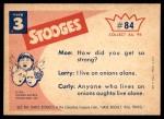 1959 Fleer Three Stooges #84   Strong Backs  Back Thumbnail