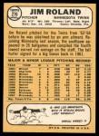 1968 Topps #276  Jim Roland  Back Thumbnail
