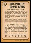 1968 Topps #36   -  Bob Robertson / Bob Moose Pirates Rookies Back Thumbnail