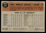 1962 Topps #235   -  Whitey Ford 1961 World Series - Game #4 - Ford Sets New Mark Back Thumbnail