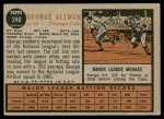 1962 Topps #240  George Altman  Back Thumbnail