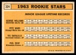 1963 Topps #324   -  Pete Ward / Vic Davalillo / Phil Roof / George Williams Rookie Stars   Back Thumbnail