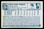 1977 Kellogg's #19  Dave Parker  Back Thumbnail