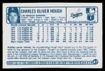 1977 Kellogg's #47  Charlie Hough  Back Thumbnail